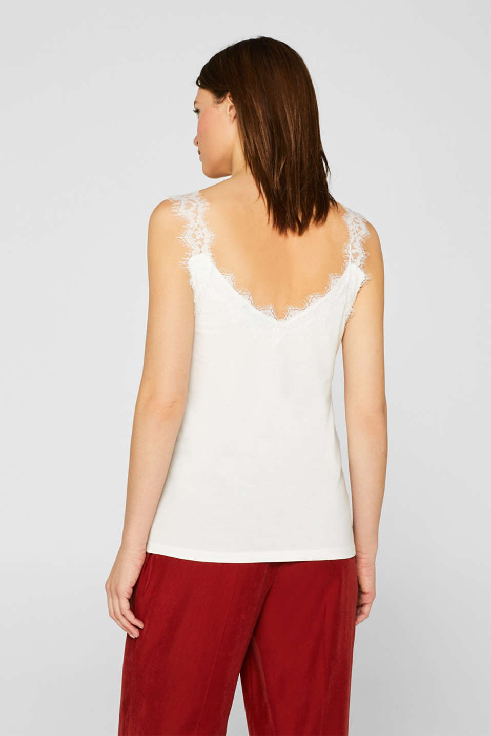 Jersey top with an elaborate lace trim, OFF WHITE, detail image number 3