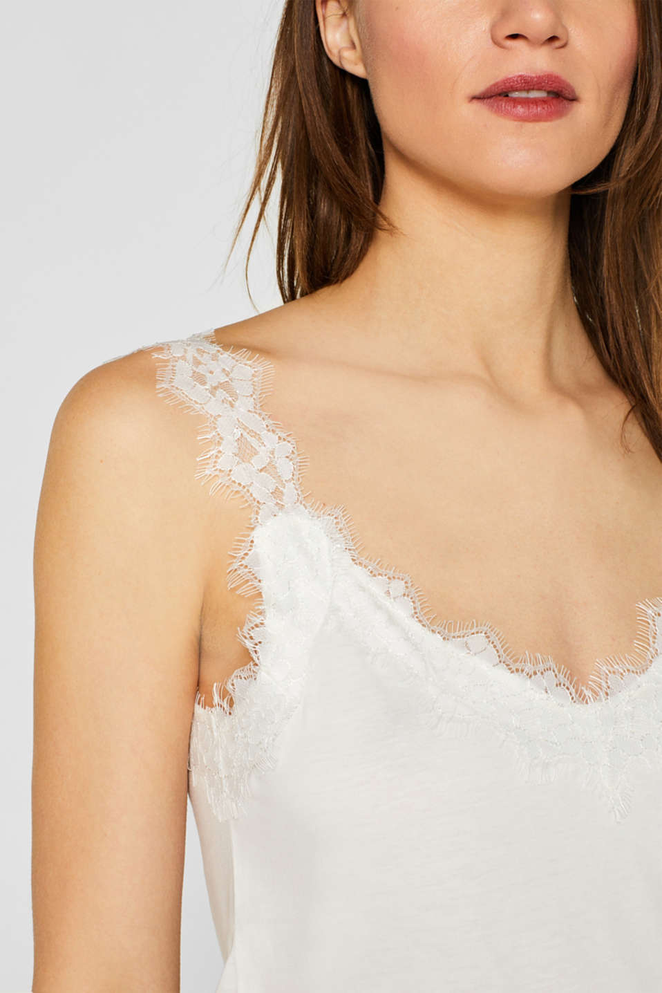 Jersey top with an elaborate lace trim, OFF WHITE, detail image number 2