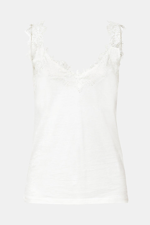 Jersey top with an elaborate lace trim