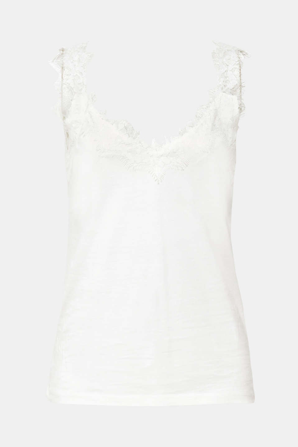 Jersey top with an elaborate lace trim, OFF WHITE, detail image number 6