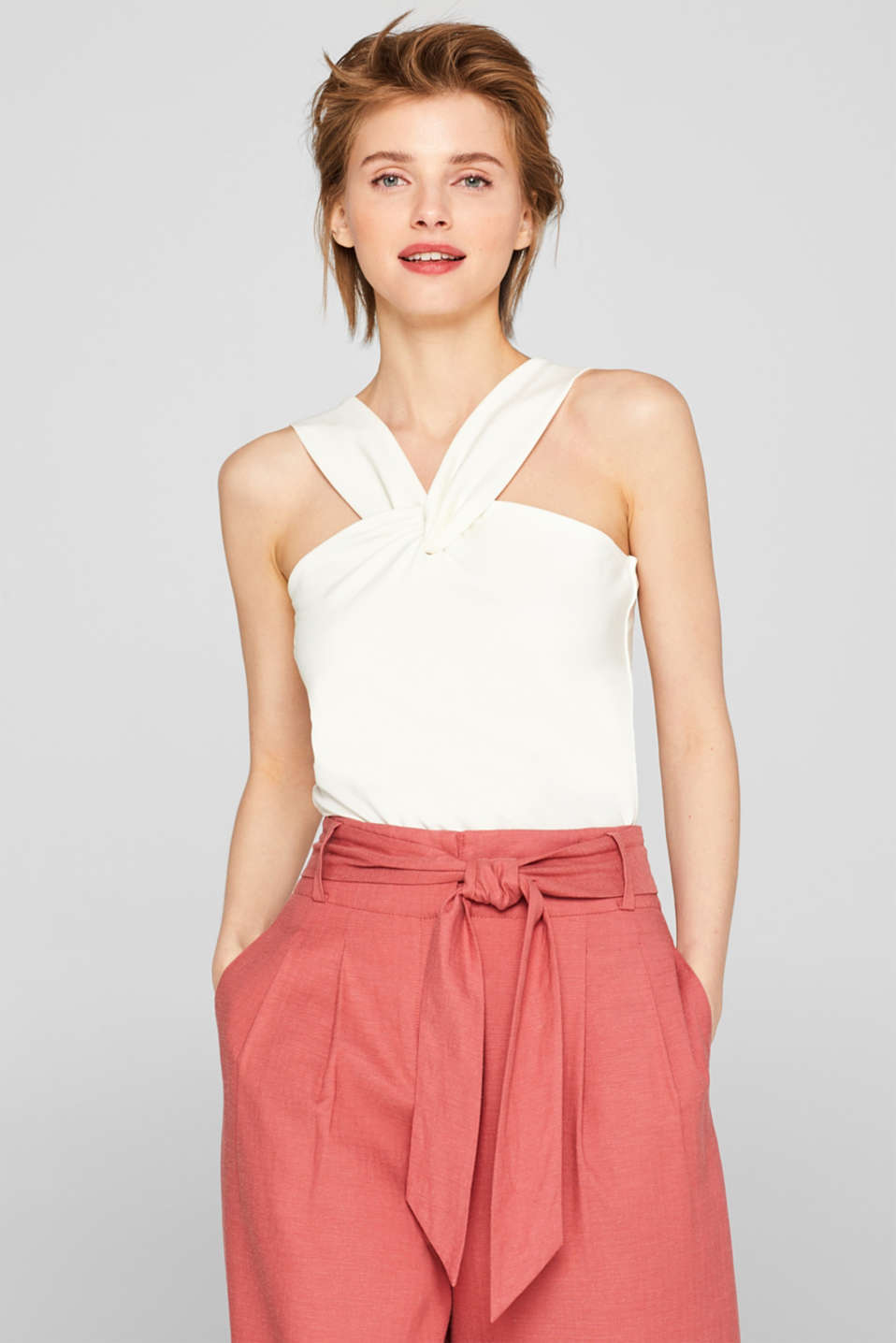 Esprit - Lyocell stretch top with draped straps