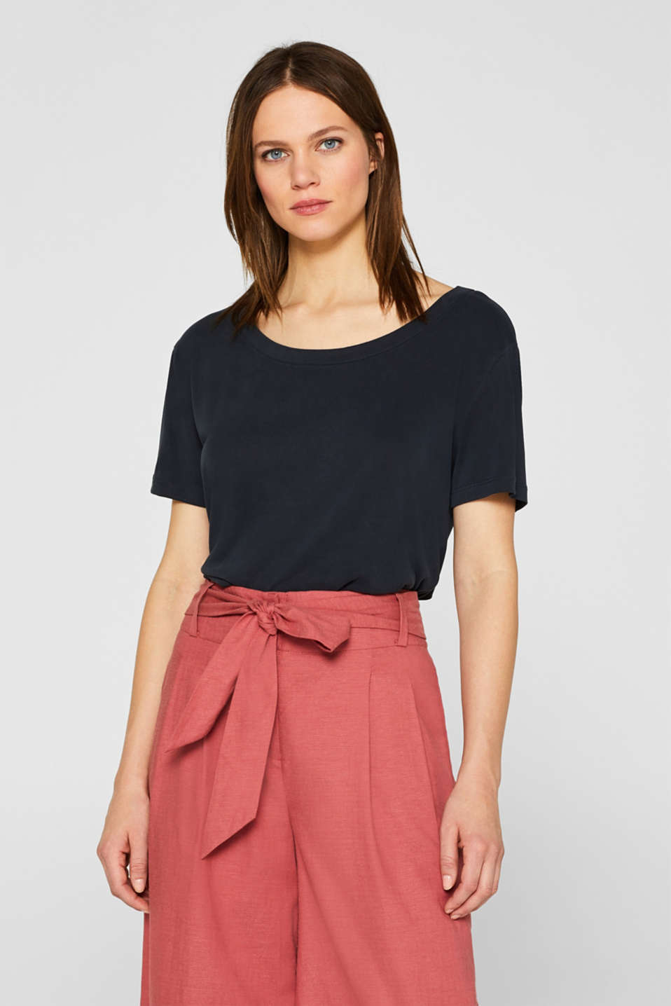 Esprit - Top with a cut-out at the back and draped effect