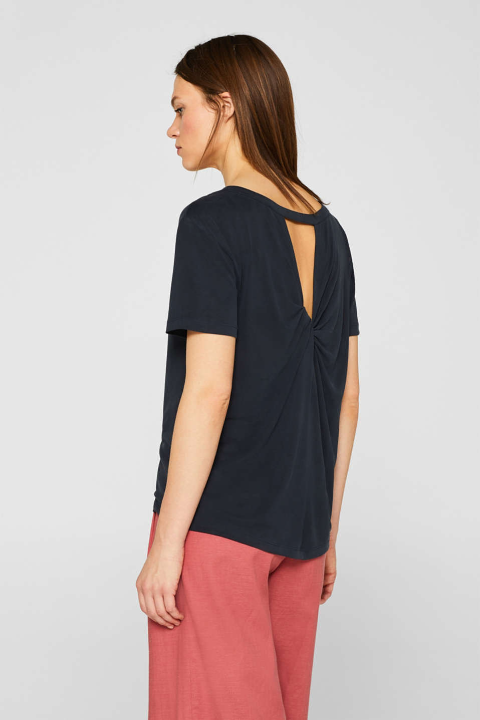 Top with a cut-out at the back and draped effect, BLACK, detail image number 1