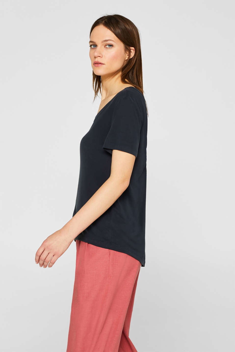 Top with a cut-out at the back and draped effect, BLACK, detail image number 5