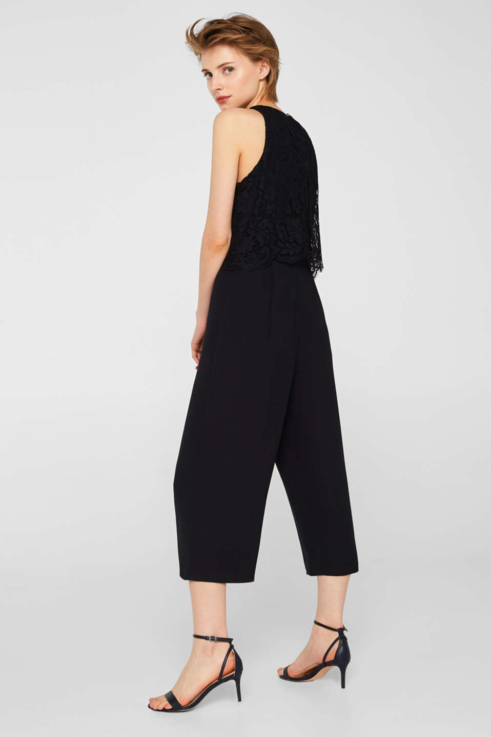 Esprit - Stretch-Jumpsuit mit Spitzen-Top
