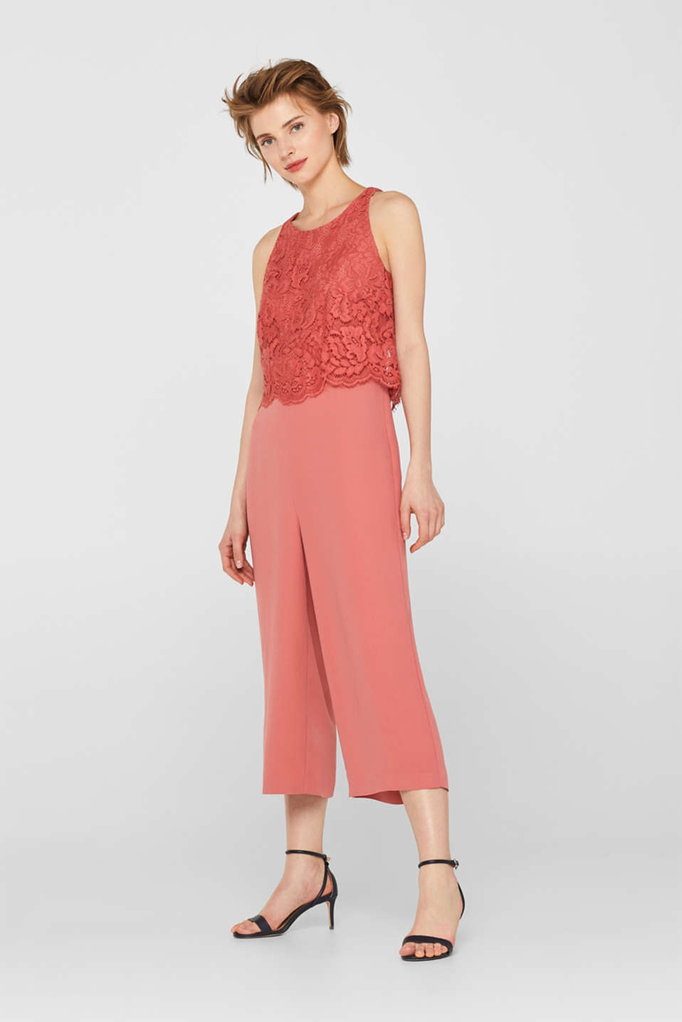 Esprit - Stretch jumpsuit with a lace top