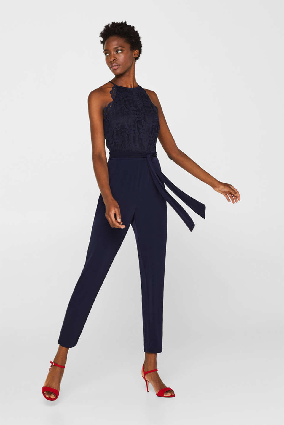 Jersey and lace jumpsuit