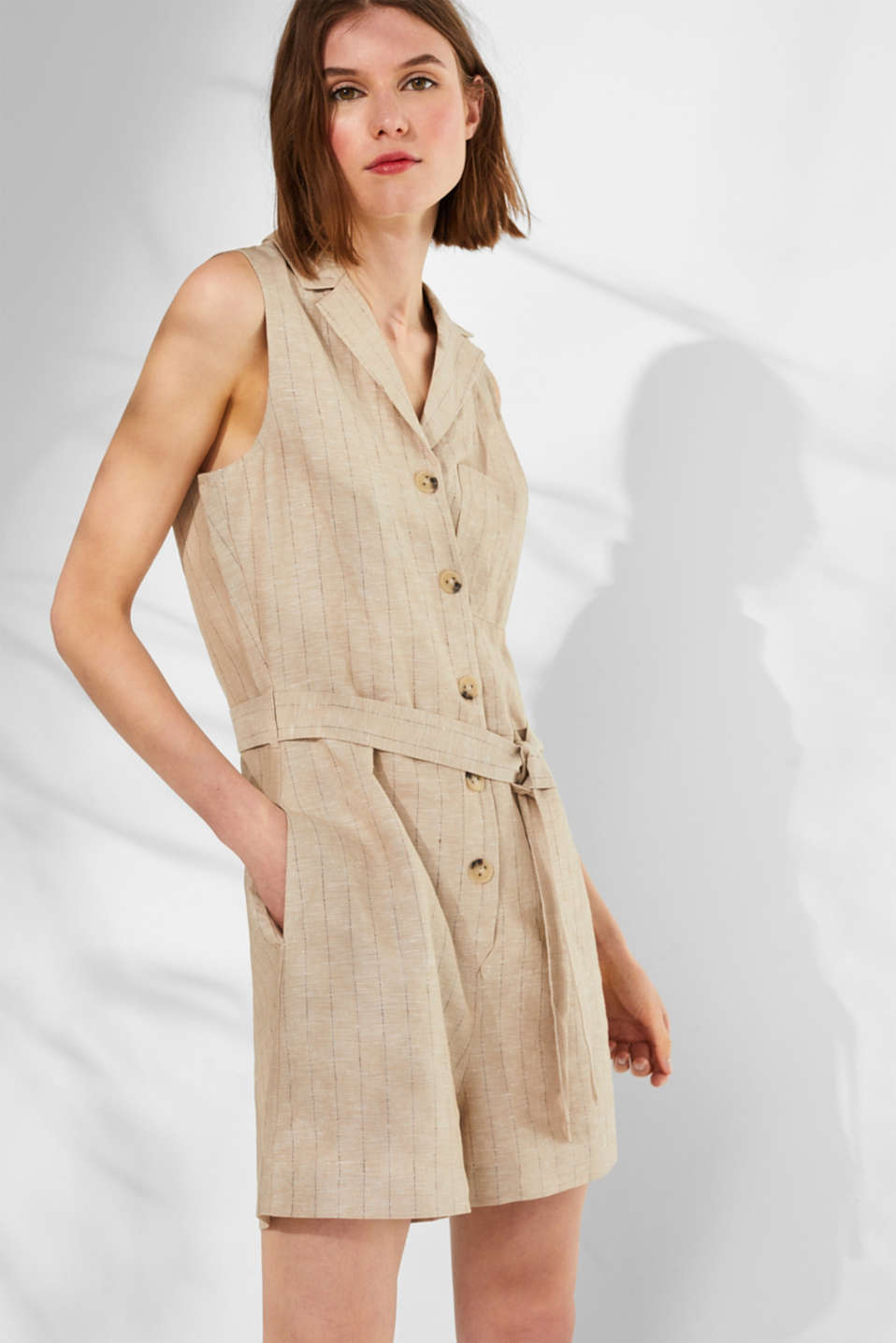 Esprit - Made of blended linen: pinstripe playsuit