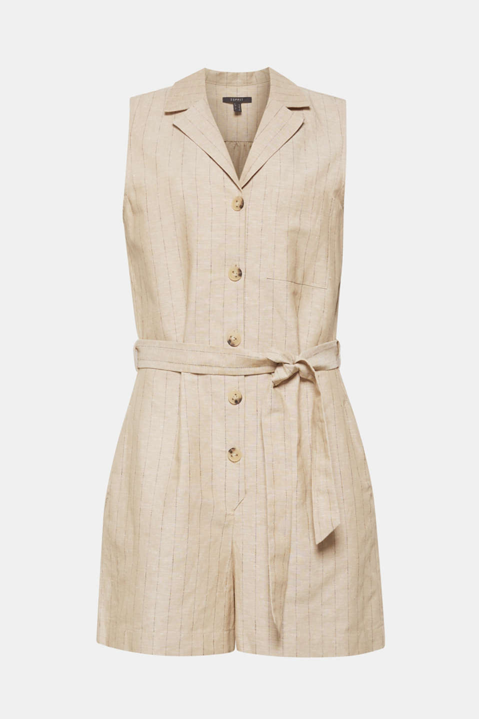 Made of blended linen: pinstripe playsuit