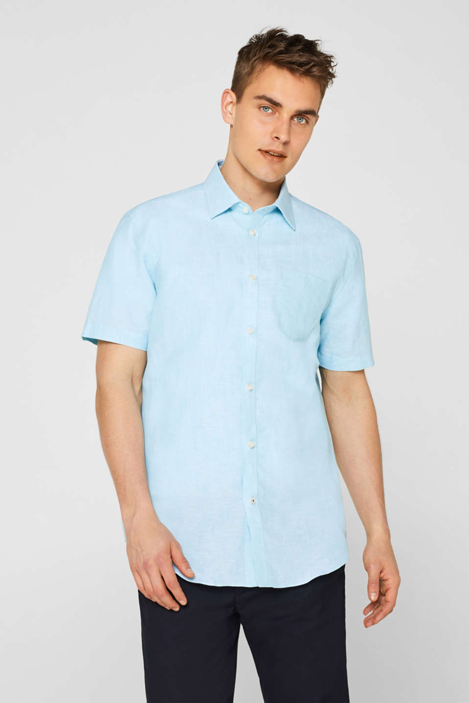 Esprit - Linen blend: short sleeve shirt with Kent collar