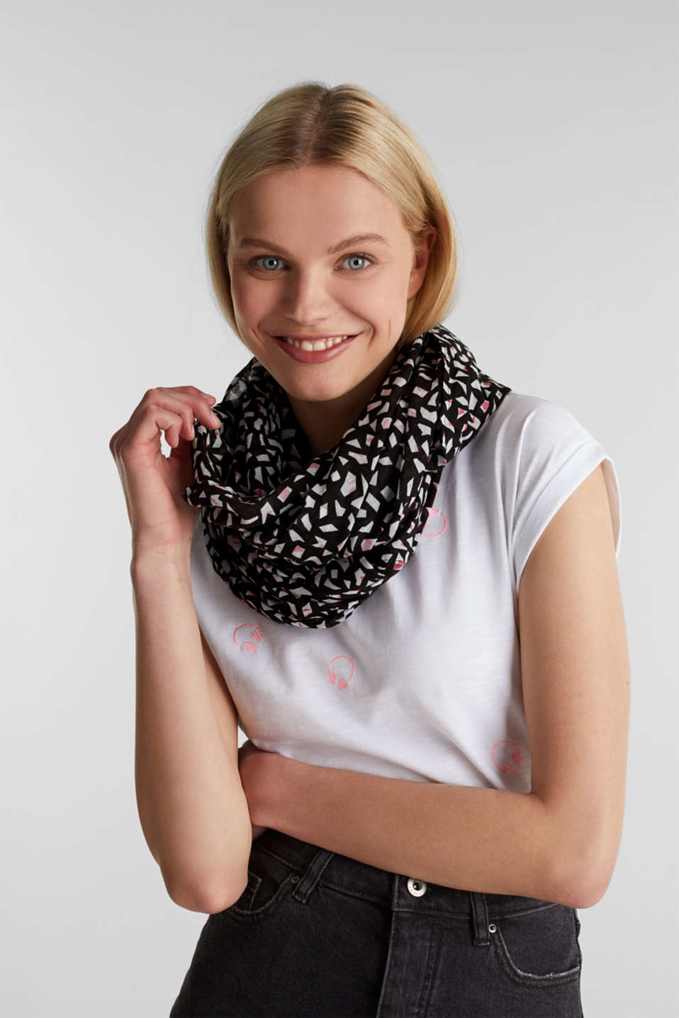 Snood made of 100% organic cotton, BLACK, detail image number 1