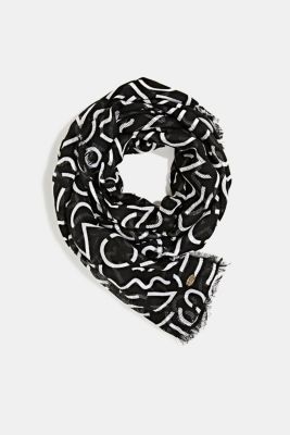 Recycled: scarf with an all-over print, BLACK, detail