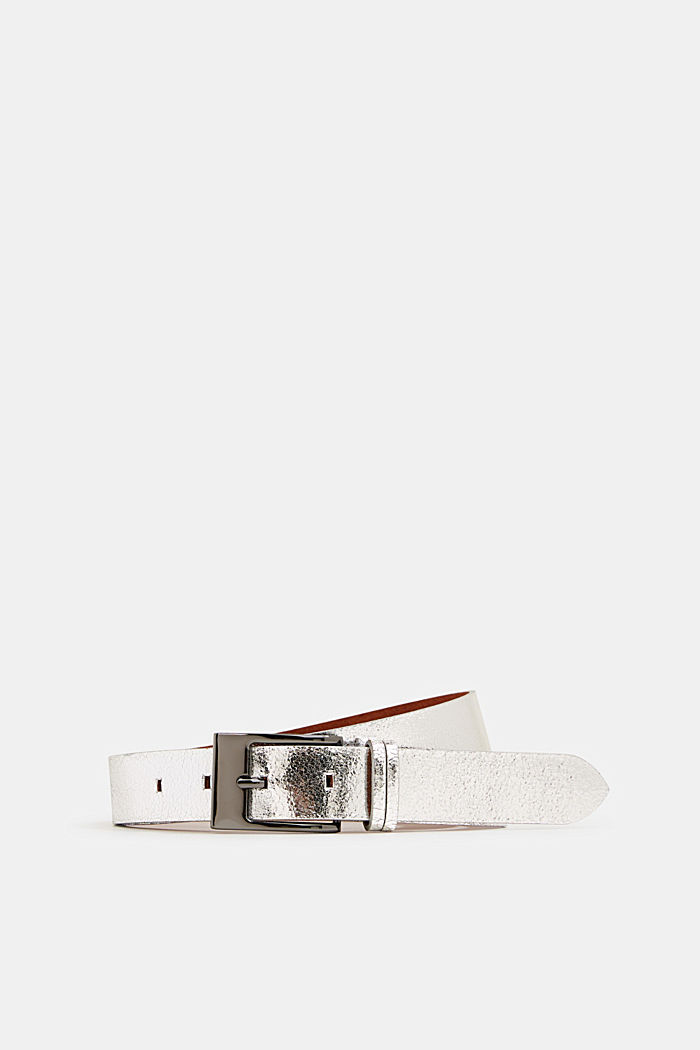 Metallic leather belt, SILVER, detail image number 0