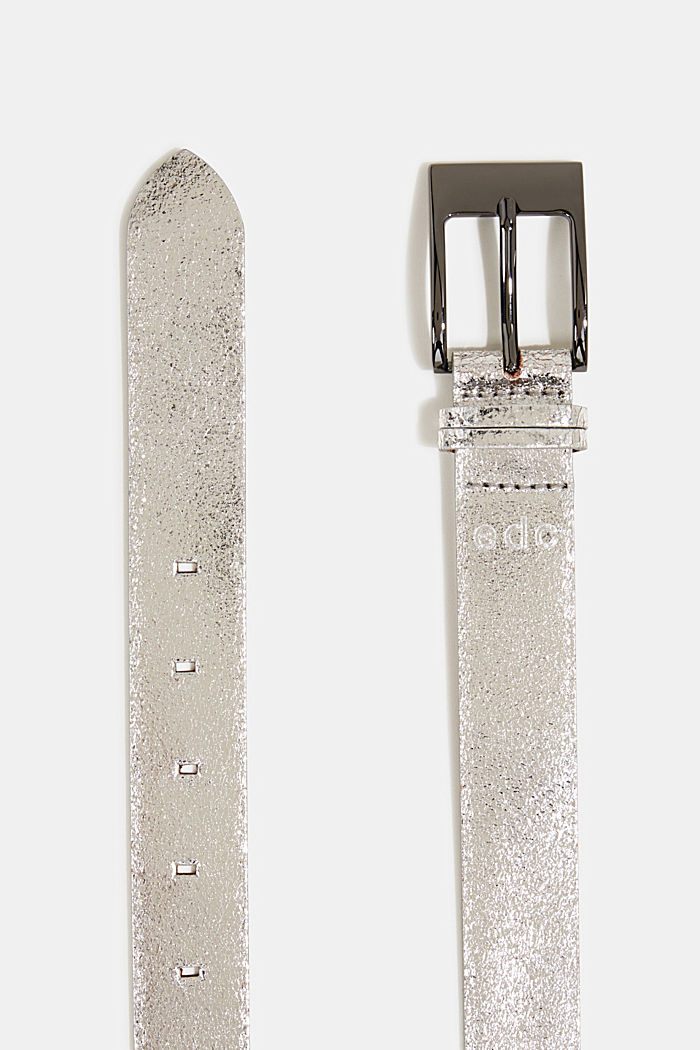 Metallic leather belt, SILVER, detail image number 1