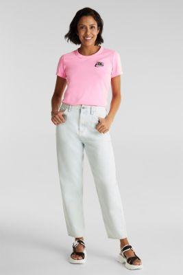 Trend jeans with waist pleats, 100% cotton, BLUE BLEACHED, detail