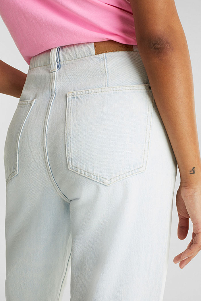 Trend jeans with waist pleats, 100% cotton, BLUE BLEACHED, detail image number 5