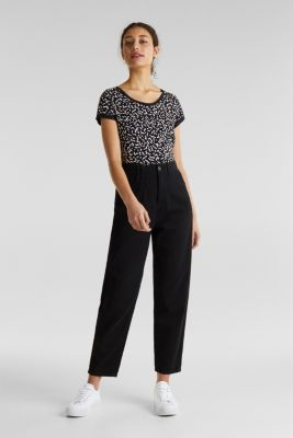 With linen: balloon trousers, BLACK, detail