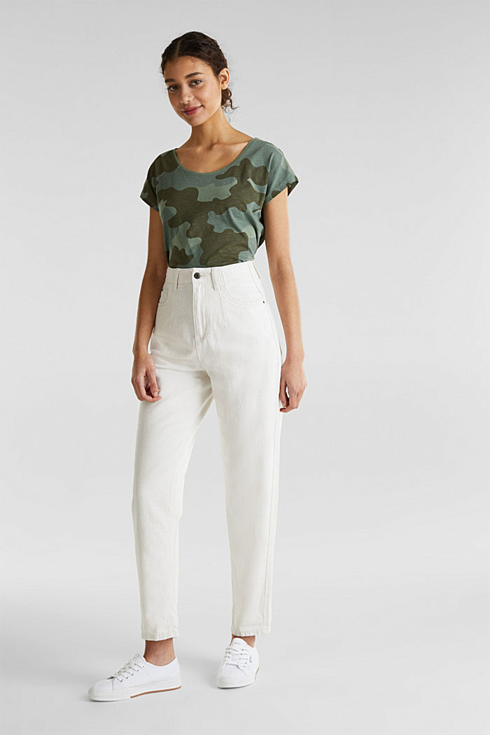 With linen: balloon trousers, OFF WHITE, detail image number 0
