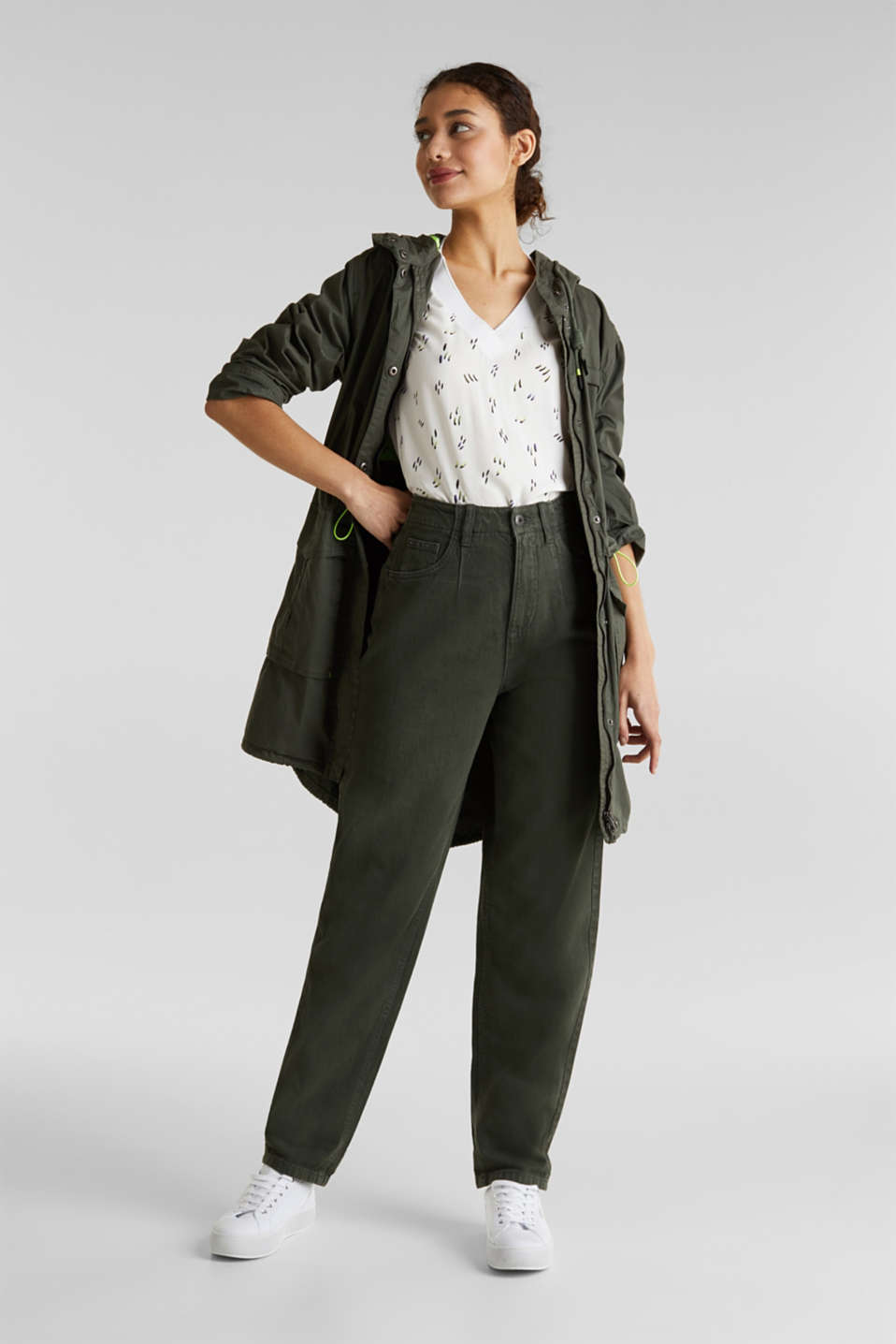 With linen: balloon trousers, KHAKI GREEN, detail image number 1