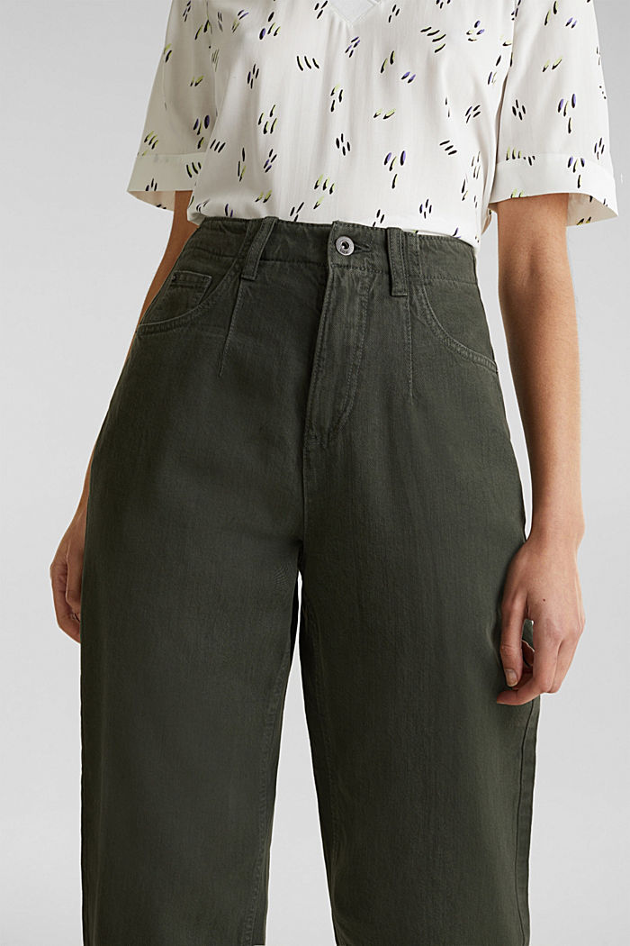 With linen: balloon trousers, KHAKI GREEN, detail image number 2
