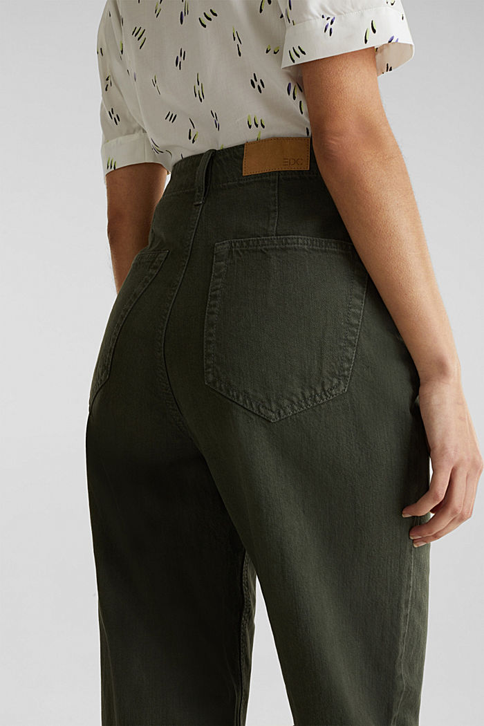 With linen: balloon trousers, KHAKI GREEN, detail image number 5