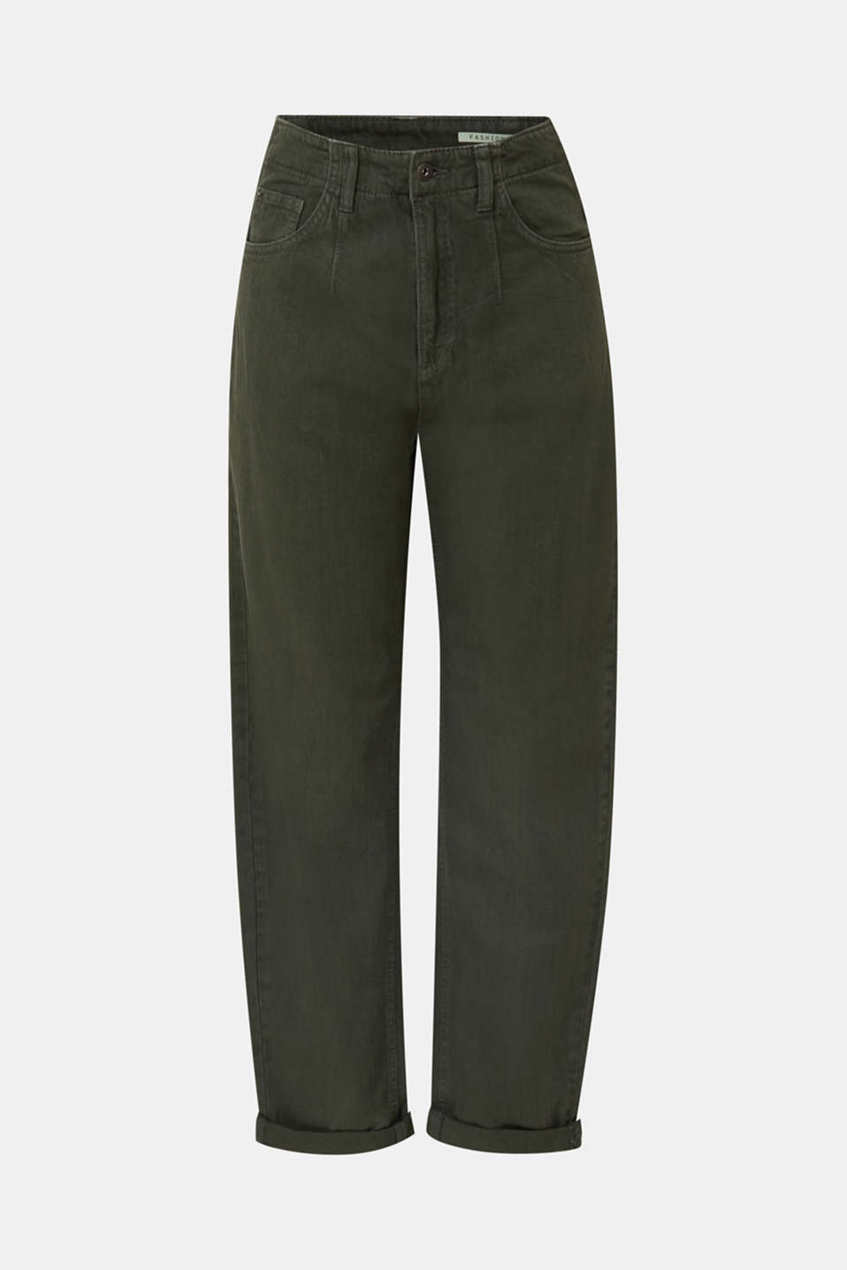With linen: balloon trousers, KHAKI GREEN, detail image number 6