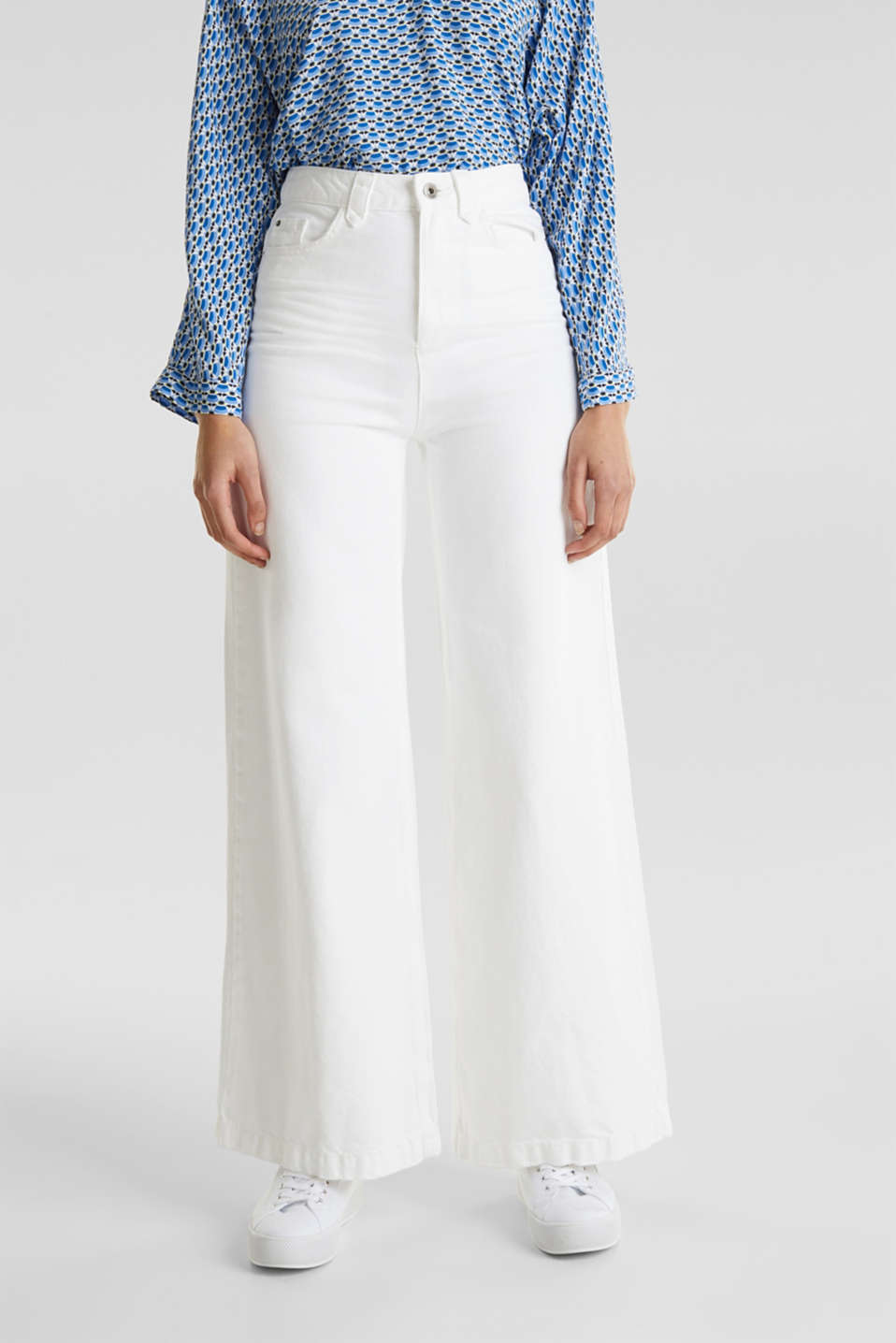 Trendy, wide-leg jeans with linen, WHITE, detail image number 0