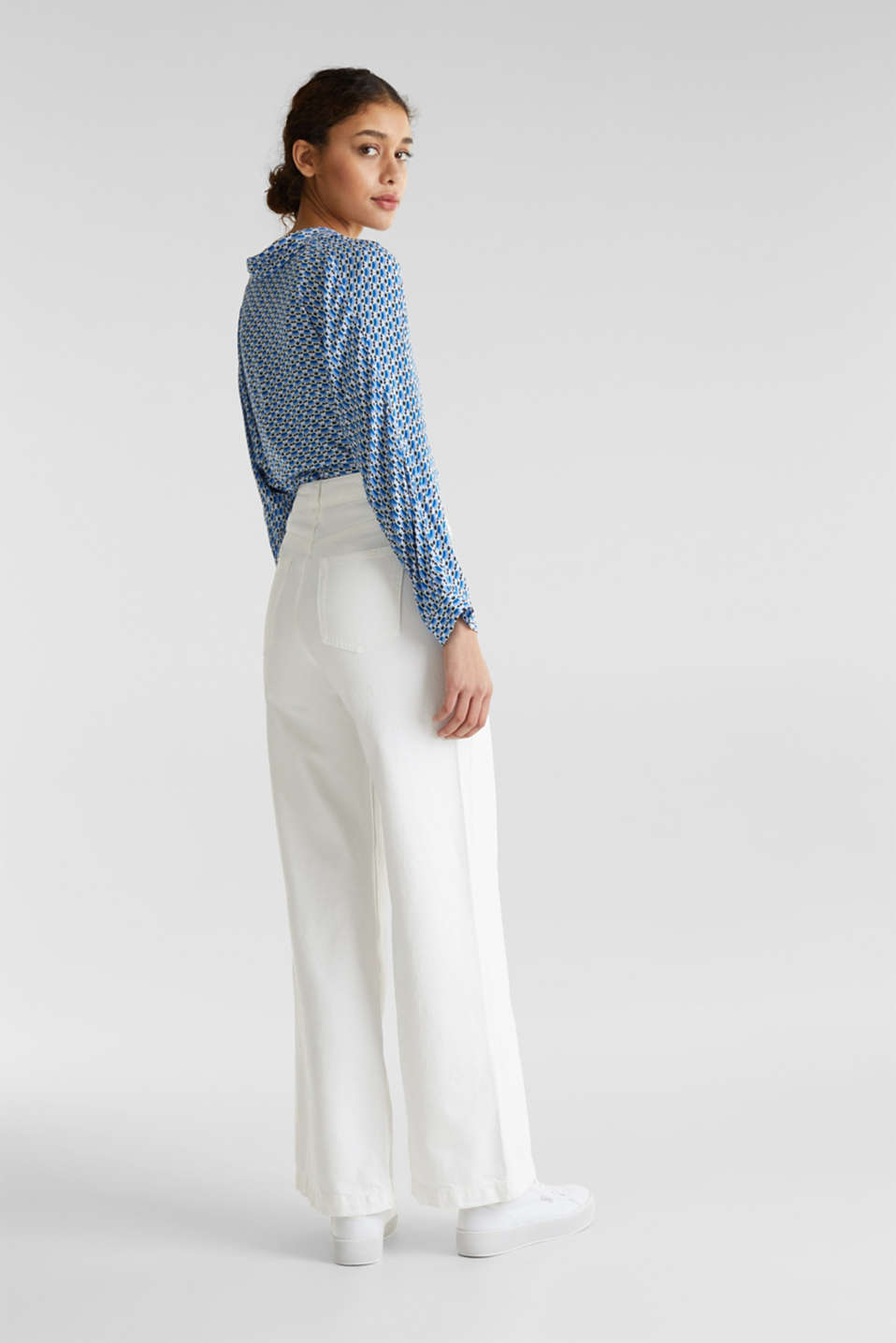 Trendy, wide-leg jeans with linen, WHITE, detail image number 3