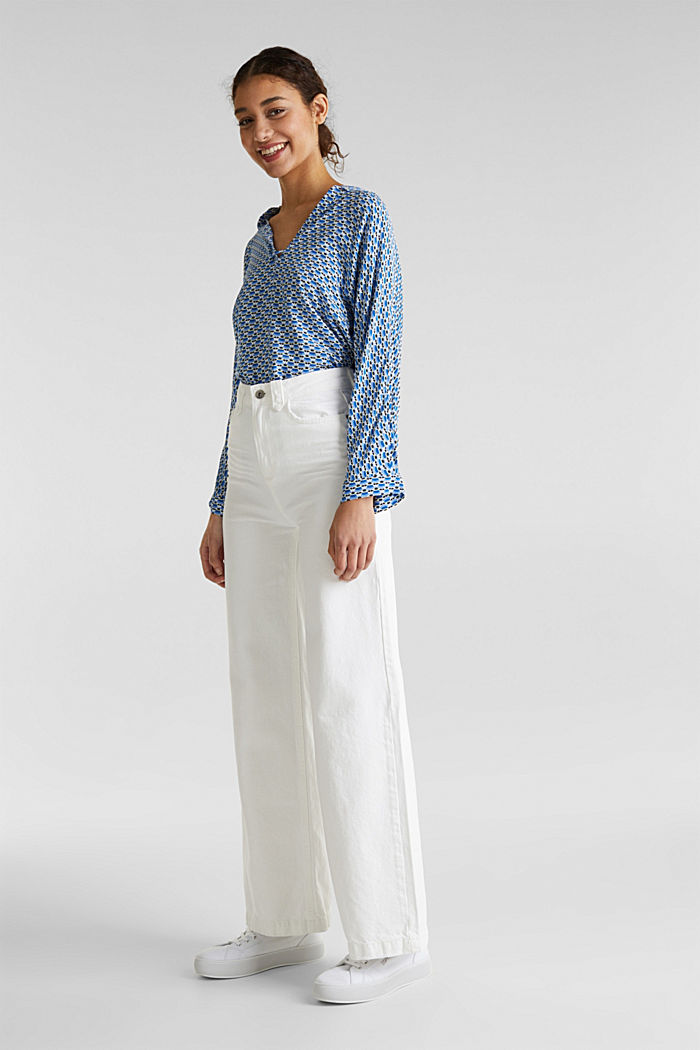 Trendy, wide-leg jeans with linen, WHITE, detail image number 5