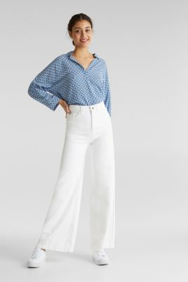Trendy, wide-leg jeans with linen, WHITE, detail