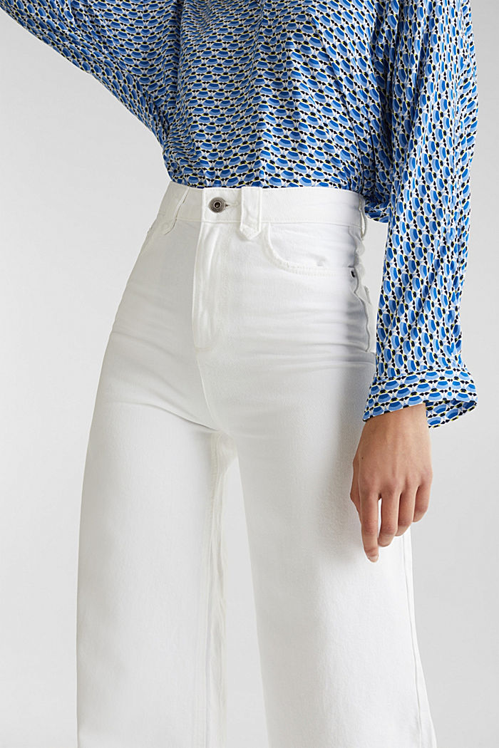 Trendy, wide-leg jeans with linen, WHITE, detail image number 2