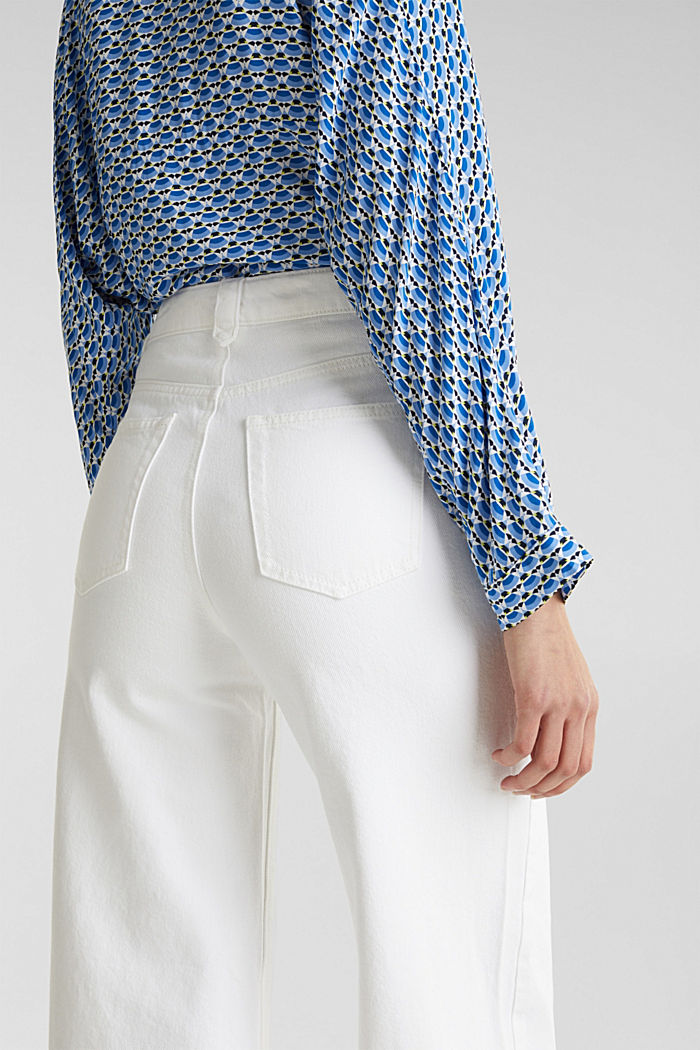 Trendy, wide-leg jeans with linen, WHITE, detail image number 6