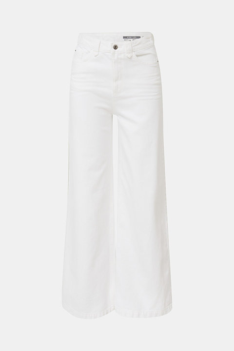 Trendy, wide-leg jeans with linen