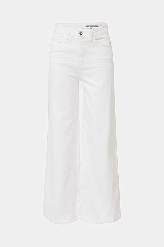 Trendy, wide-leg jeans with linen, WHITE, detail image number 7