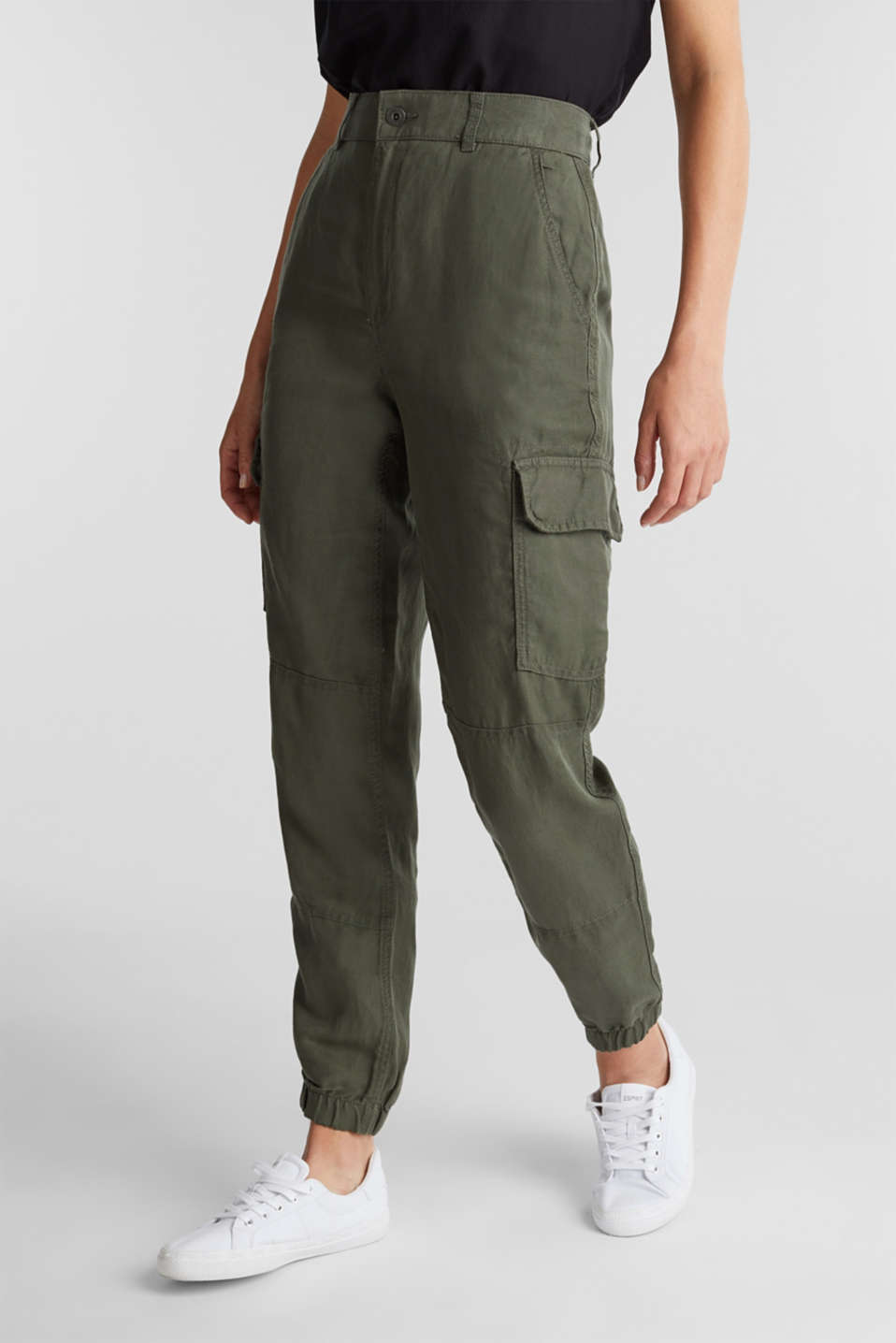 Linen blend: cargo trousers, KHAKI GREEN, detail image number 0