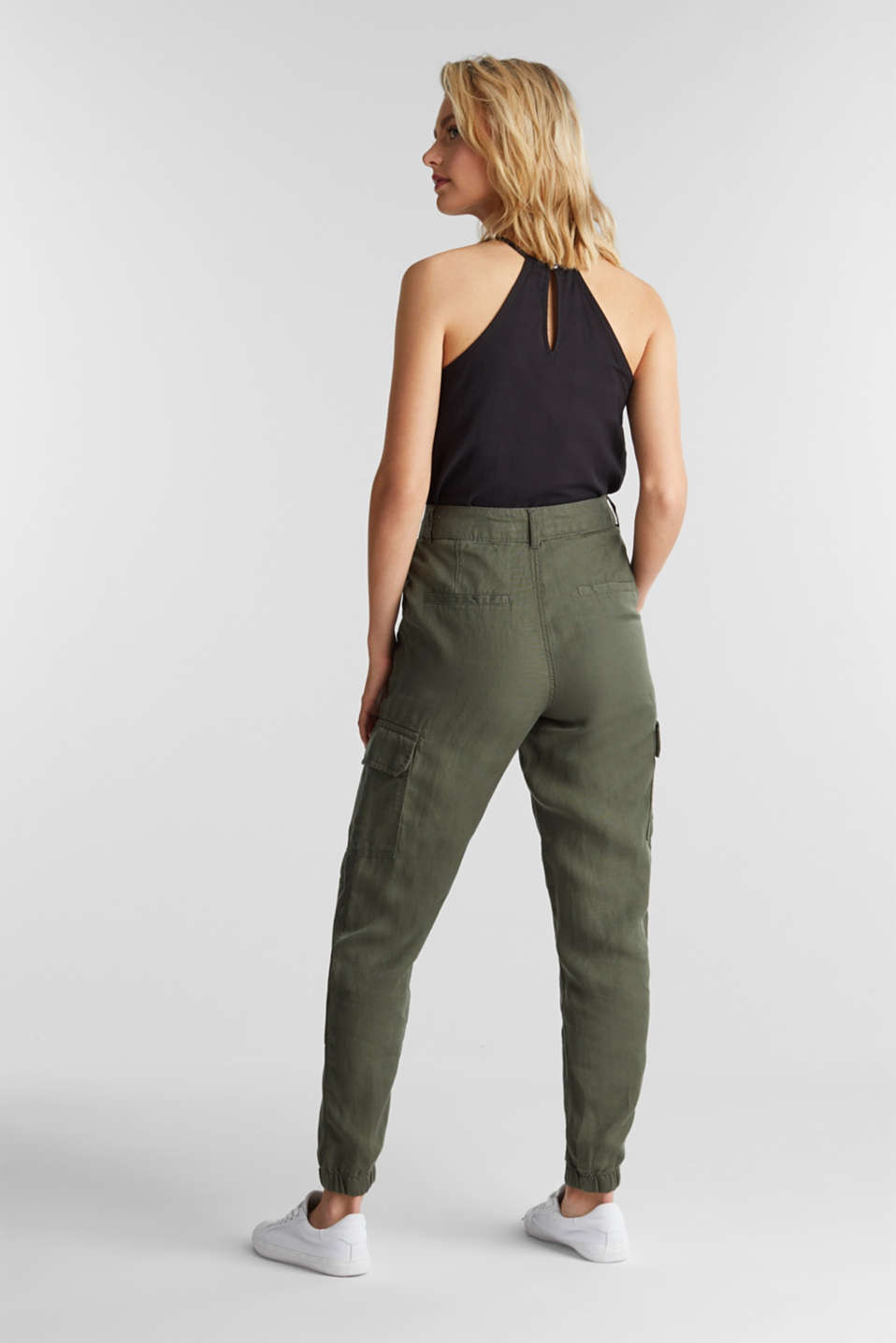 Linen blend: cargo trousers, KHAKI GREEN, detail image number 3