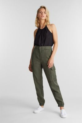 Linen blend: cargo trousers, KHAKI GREEN, detail