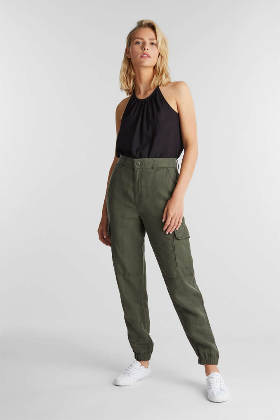 Linen blend: cargo trousers, KHAKI GREEN, detail image number 1
