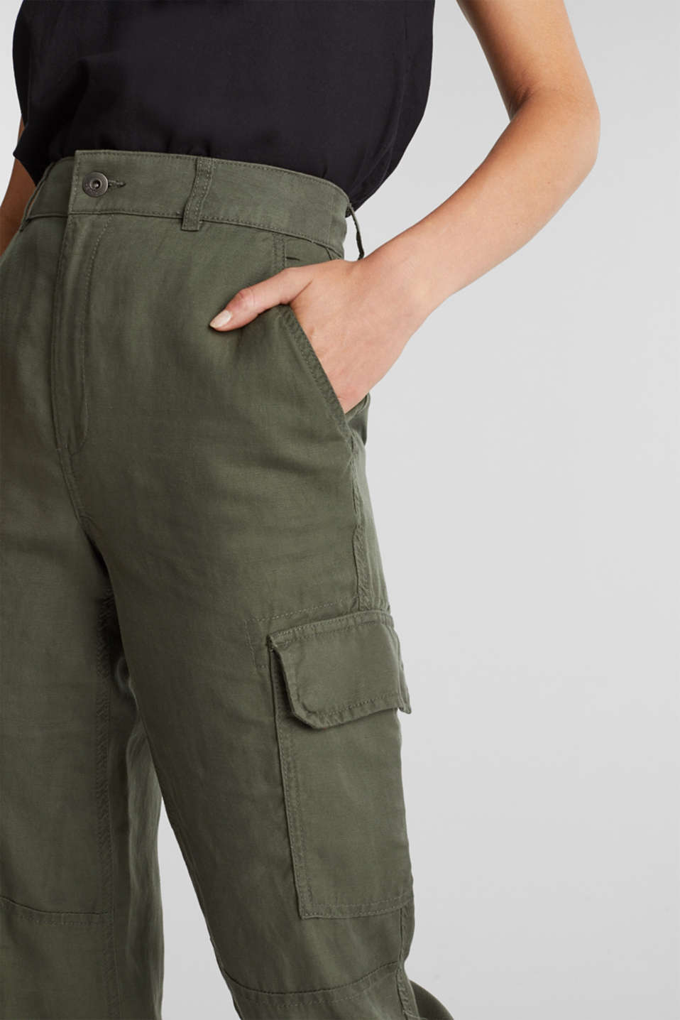 Linen blend: cargo trousers, KHAKI GREEN, detail image number 2