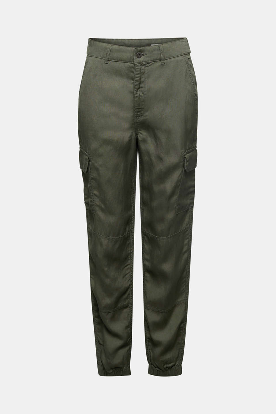Linen blend: cargo trousers, KHAKI GREEN, detail image number 4