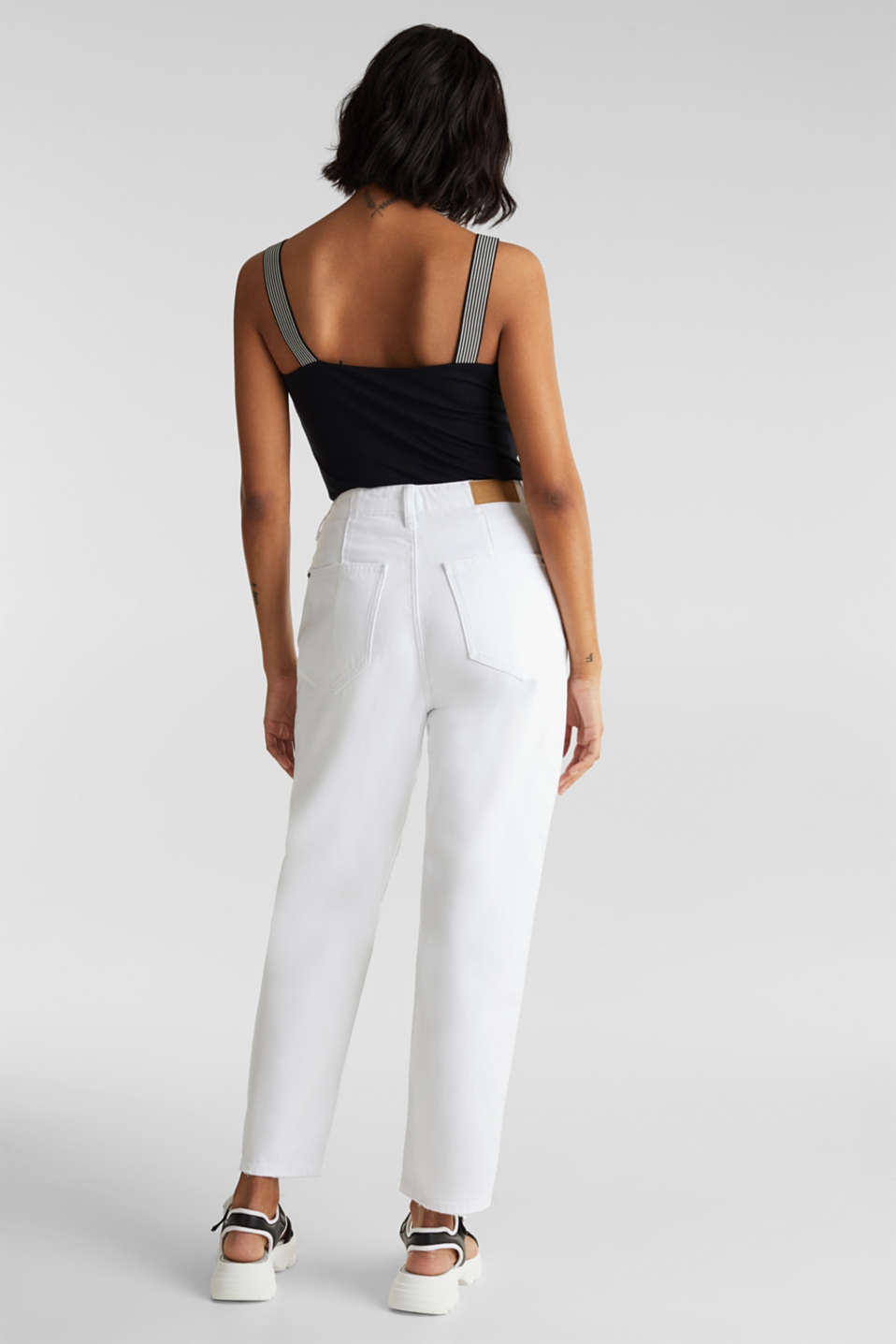 Trend jeans with waist pleats, 100% cotton, WHITE, detail image number 3