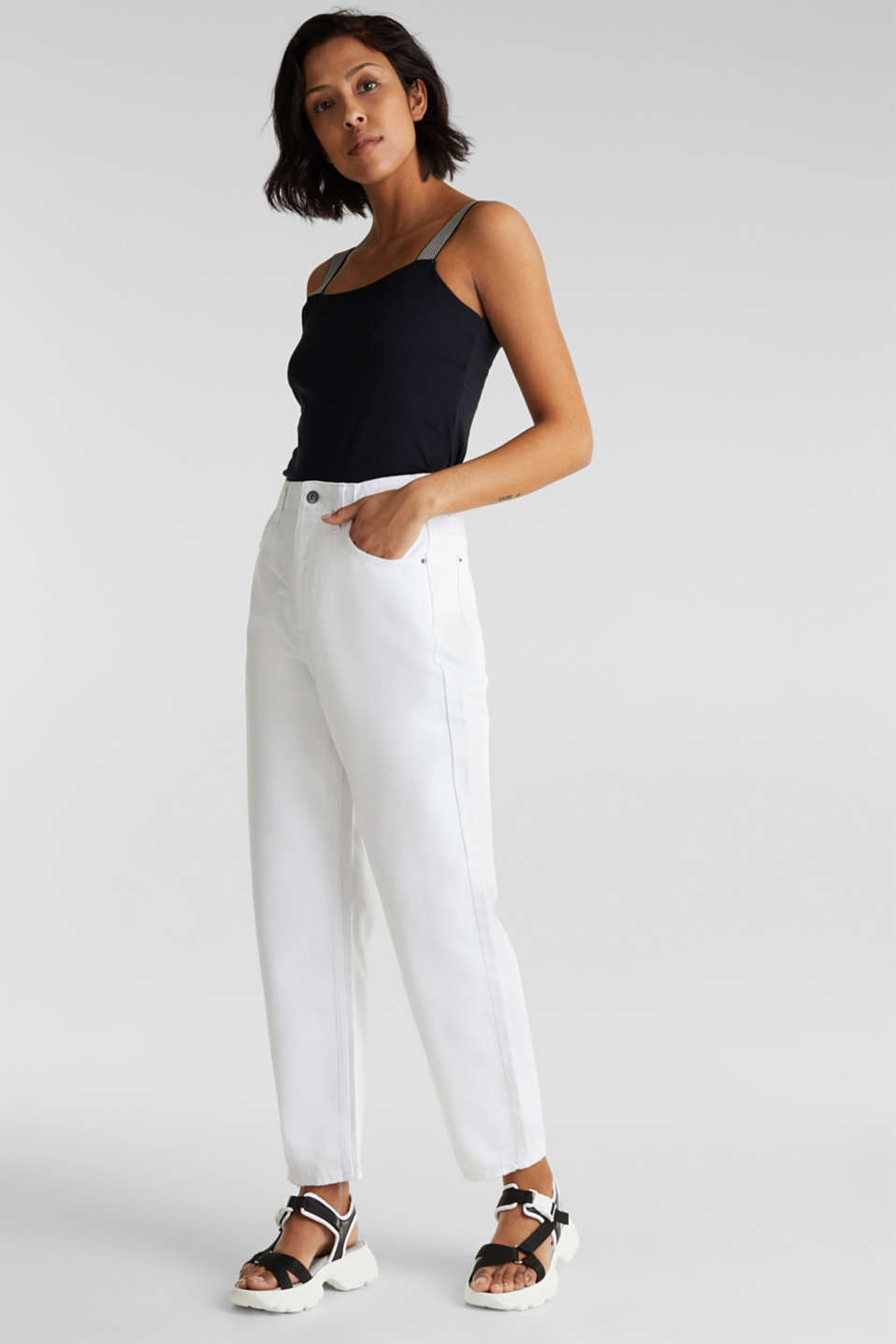 Trend jeans with waist pleats, 100% cotton, WHITE, detail