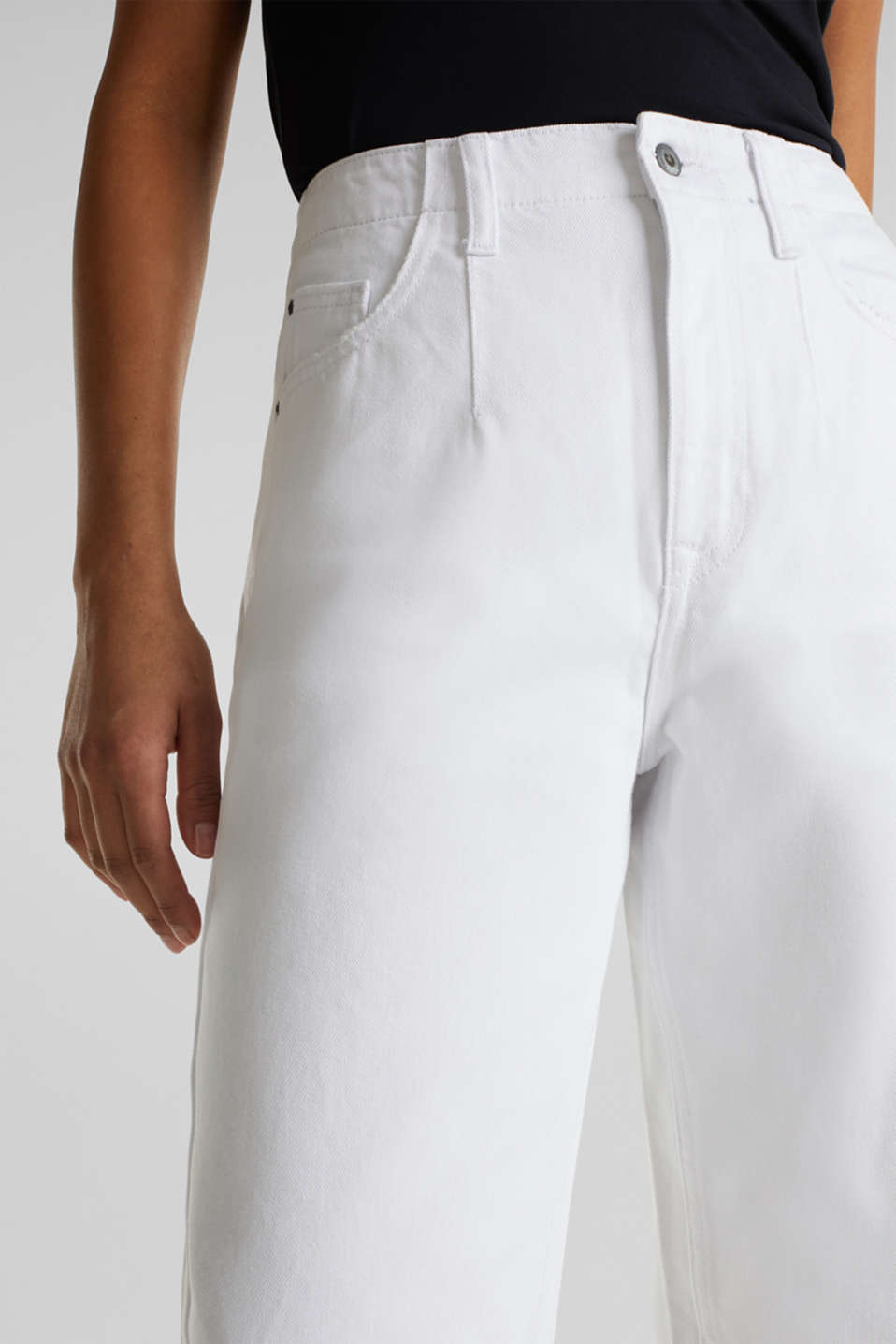 Trend jeans with waist pleats, 100% cotton, WHITE, detail image number 2