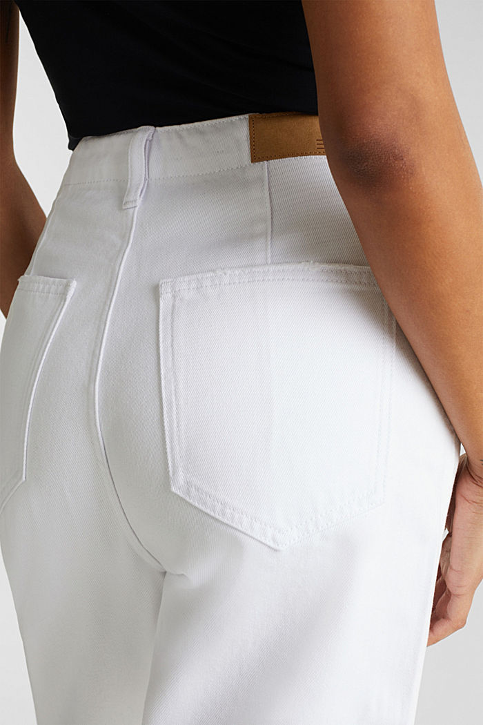 Trend jeans with waist pleats, 100% cotton, WHITE, detail image number 5