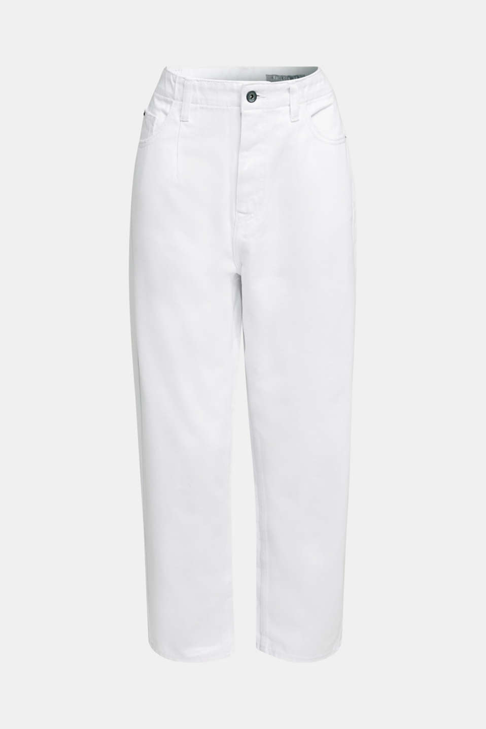 Trend jeans with waist pleats, 100% cotton, WHITE, detail image number 6