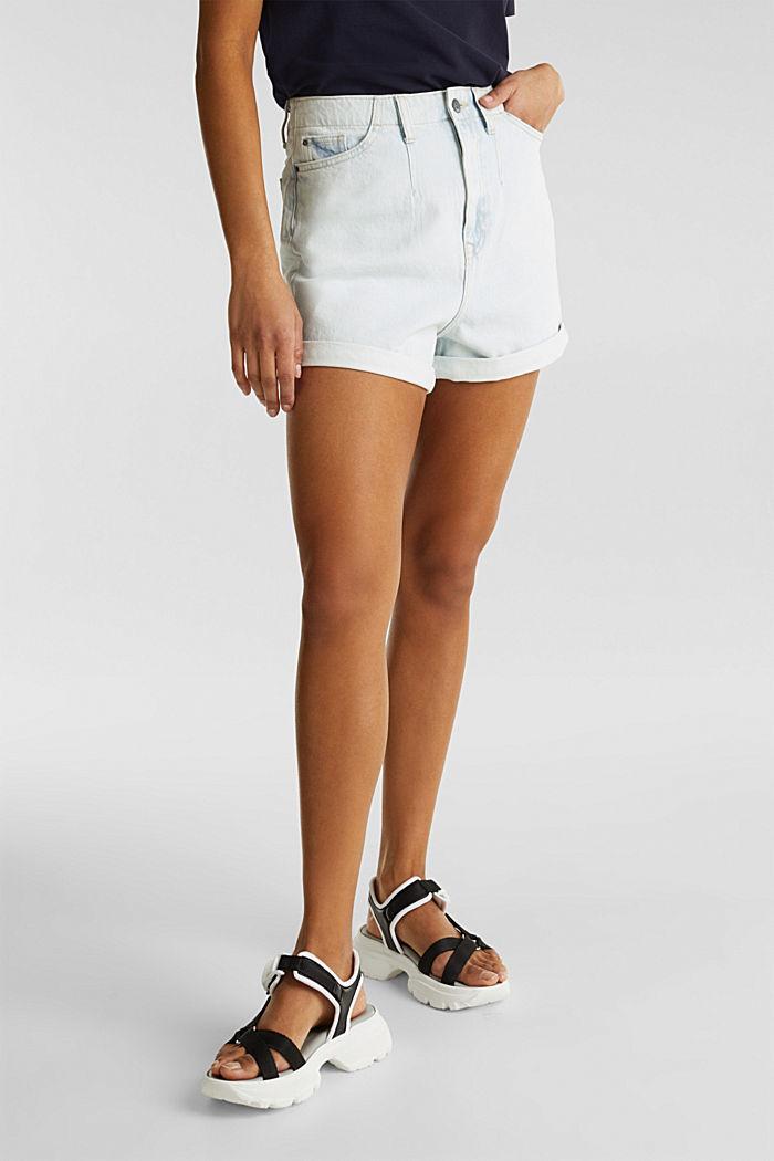Cotton denim shorts, BLUE BLEACHED, detail image number 0