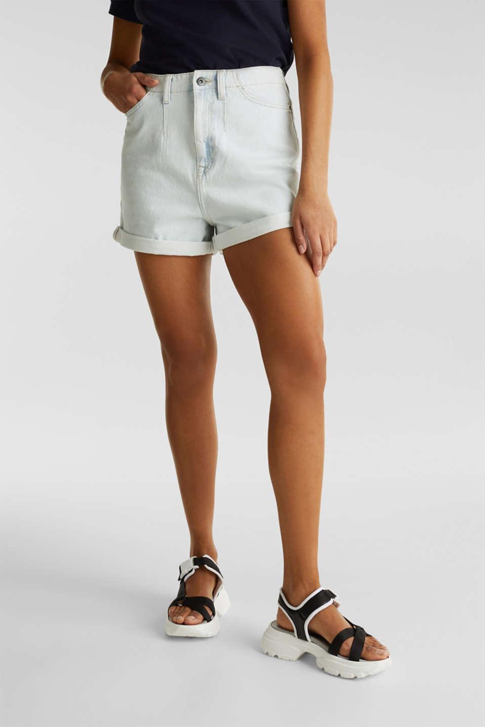 Cotton denim shorts, BLUE BLEACHED, detail image number 6