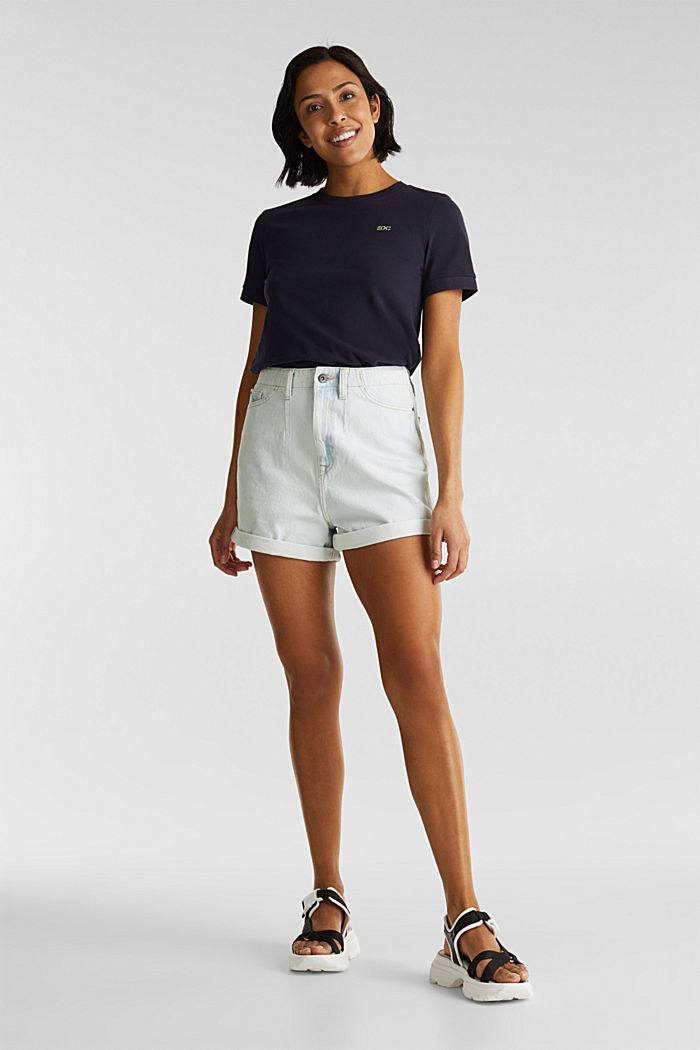 Cotton denim shorts, BLUE BLEACHED, detail image number 1