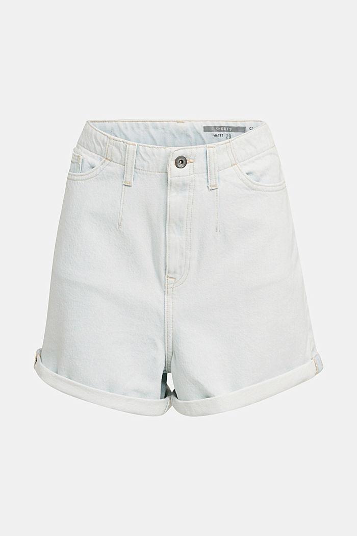 Cotton denim shorts, BLUE BLEACHED, detail image number 7