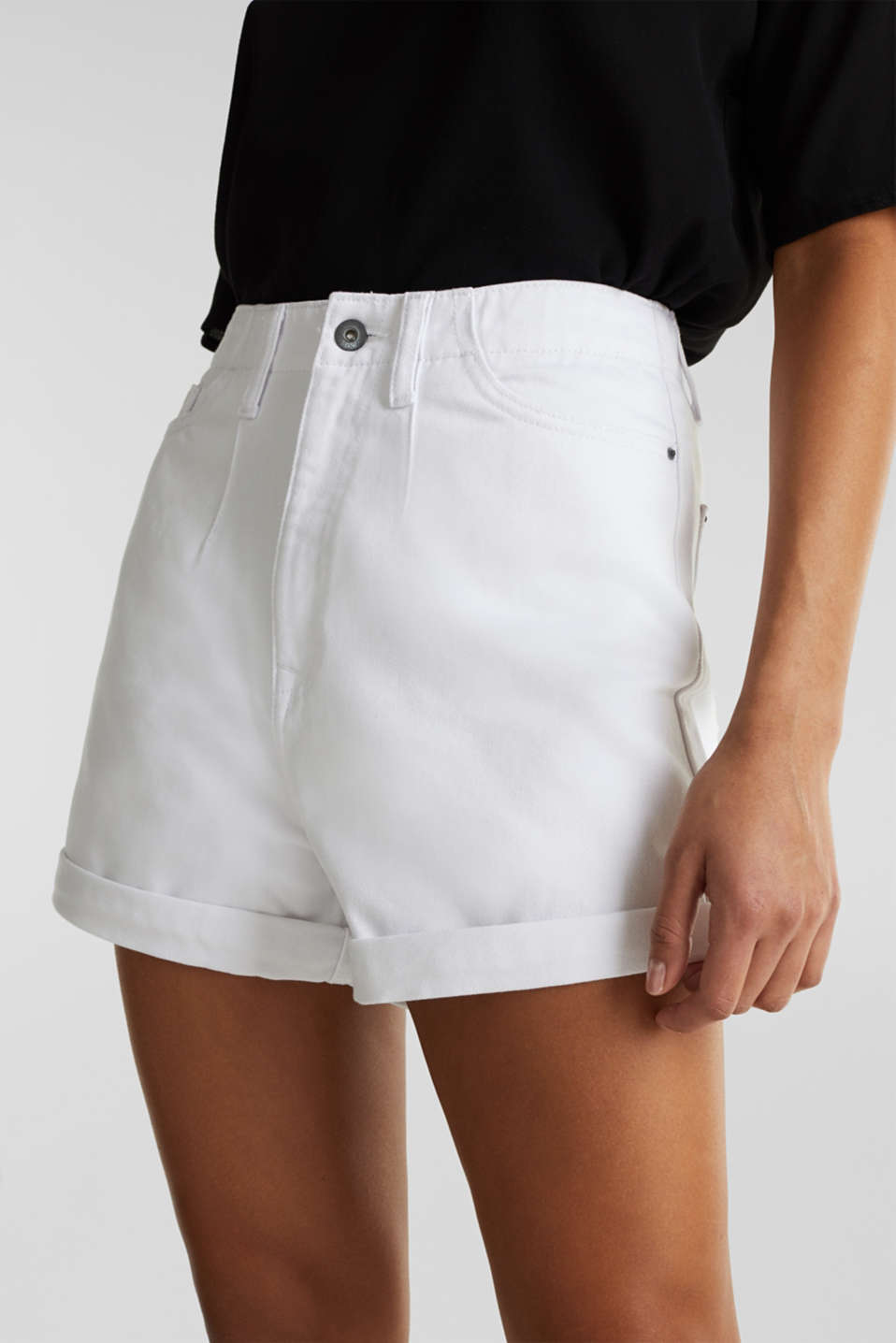 High-rise denim shorts, WHITE, detail image number 2